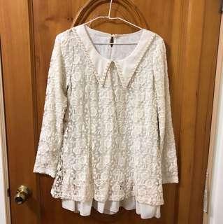 🚚 Coco deal蕾絲領片雪紡長袖洋裝