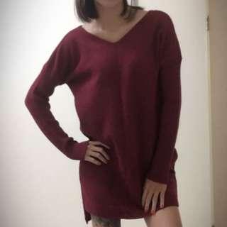 全新✔️小V領針織毛衣連身洋/酒紅