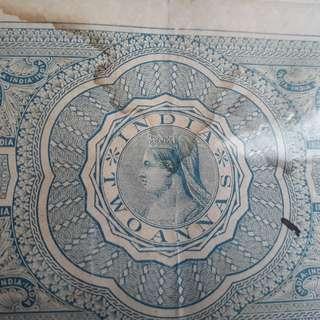 British  INDIA BURMA - Queen VICTORIA -  2 Annas - vintage Stamp Bond Paper