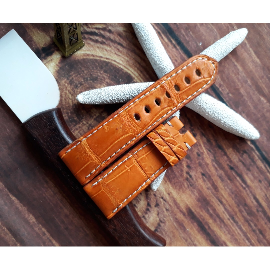 434a6c3d9 24mm Gold Tan Genuine Alligator Crocodile Leather Watch Strap for ...