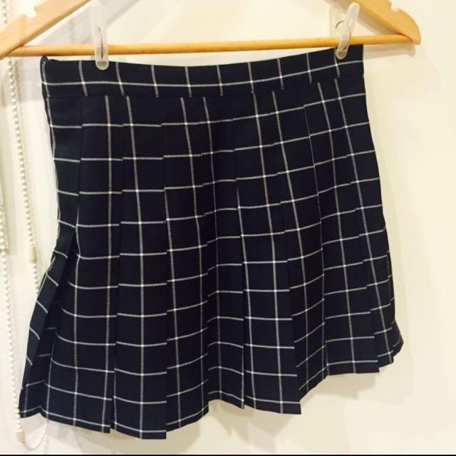 黑白格百褶裙(全新)