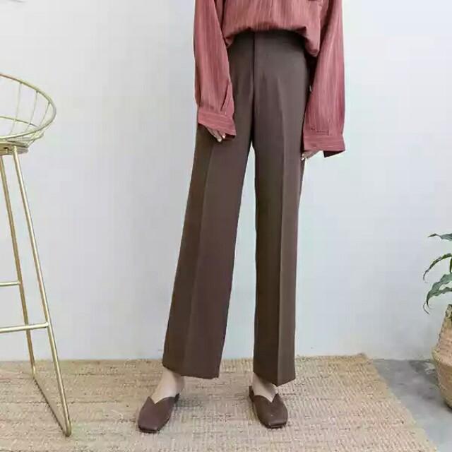 兩件九折。百搭厚雪紡咖啡色質感氣質高腰長褲闊腿褲針織襯衫必備