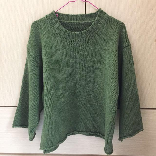 不收邊針織衫-墨綠