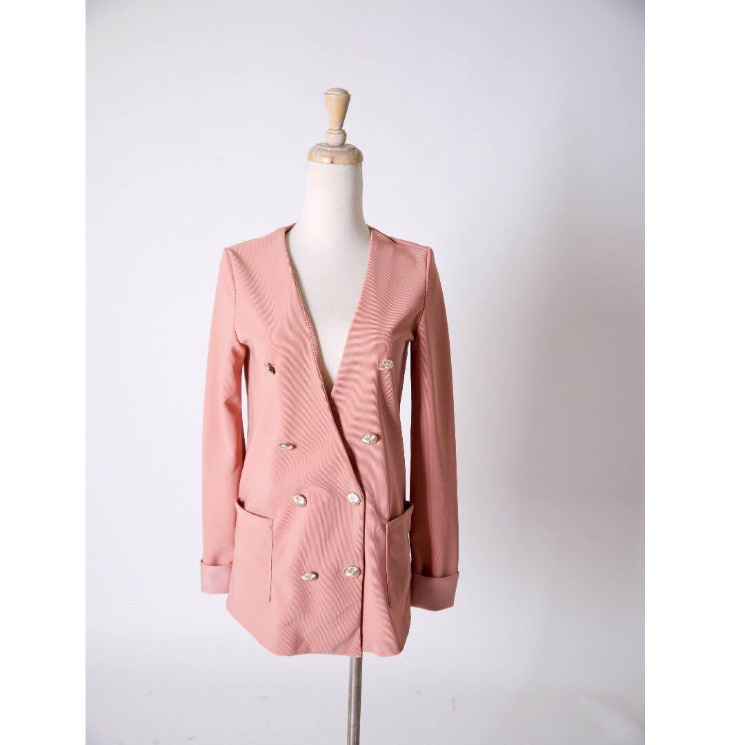 (私)韓國製粉橘西裝外套