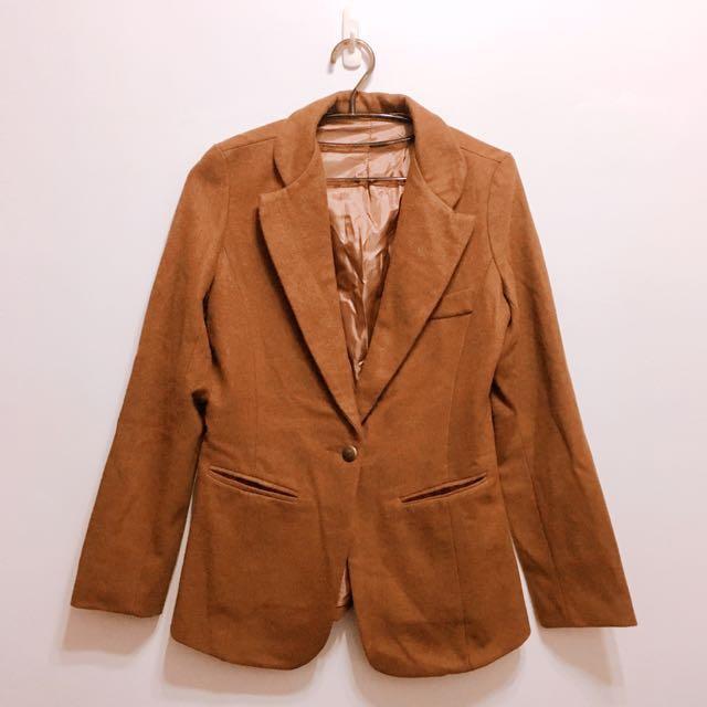 韓版中長款毛呢單扣西裝外套
