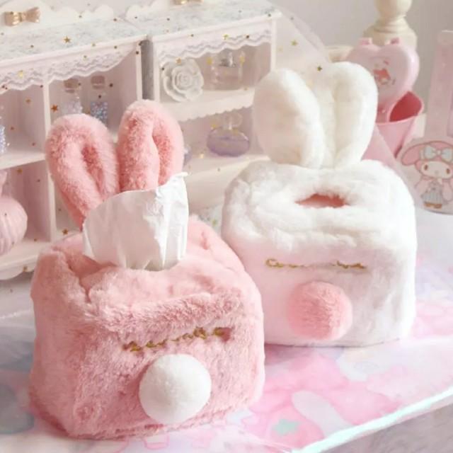粉嫩療癒毛毛兔子面紙套收納