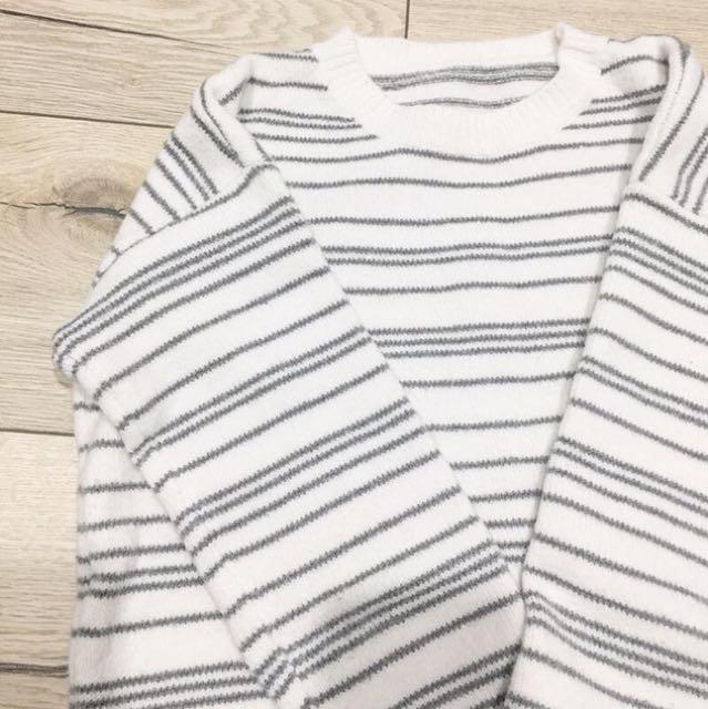 [二手]前短後長厚實條紋毛衣