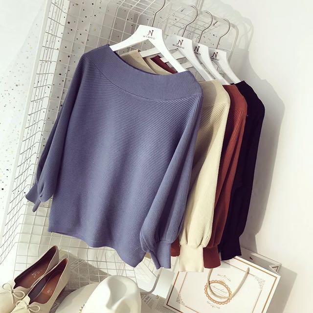 針織薄款上衣 顏色:藍、黑、駝