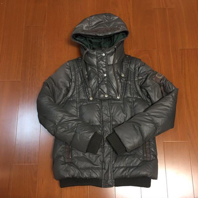 (秋冬必備) 灰色保暖羽絨連帽外套可變背心