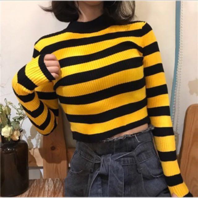 黑黃條紋合身針織毛衣 顯瘦 顯胸💛