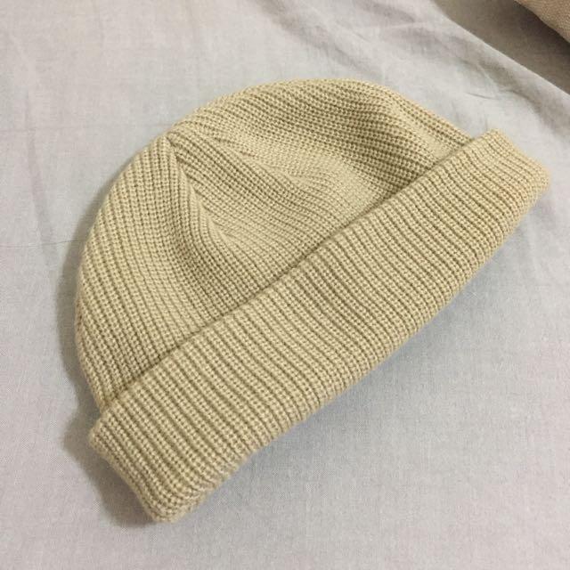 短毛帽 針織帽 瓜皮帽 卡其色