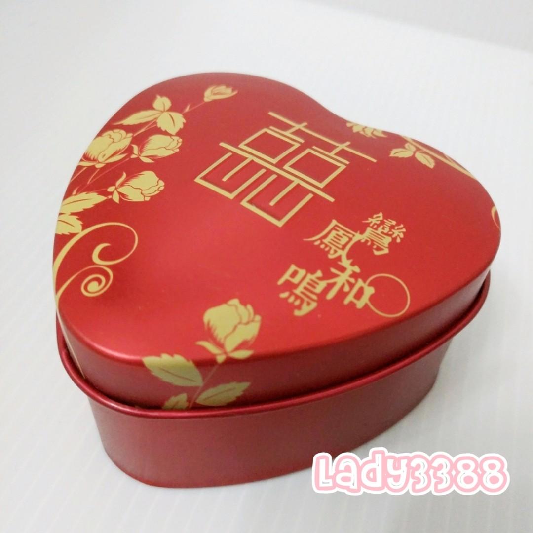 金囍字心形造型鐵盒 馬口喜糖盒 兩款W109~W110
