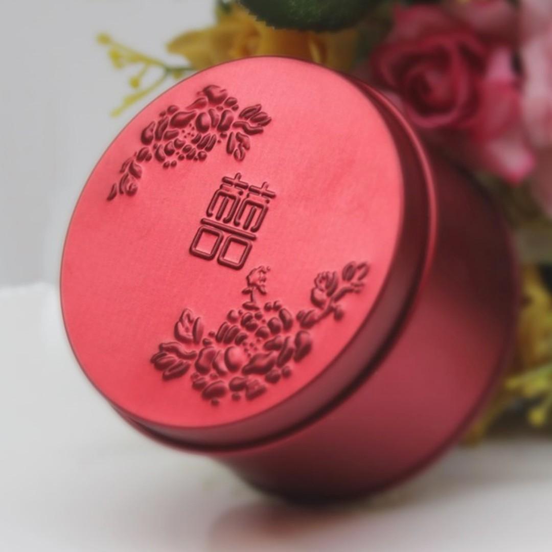立體浮雕囍字圓罐鐵盒 糖果盒 W111