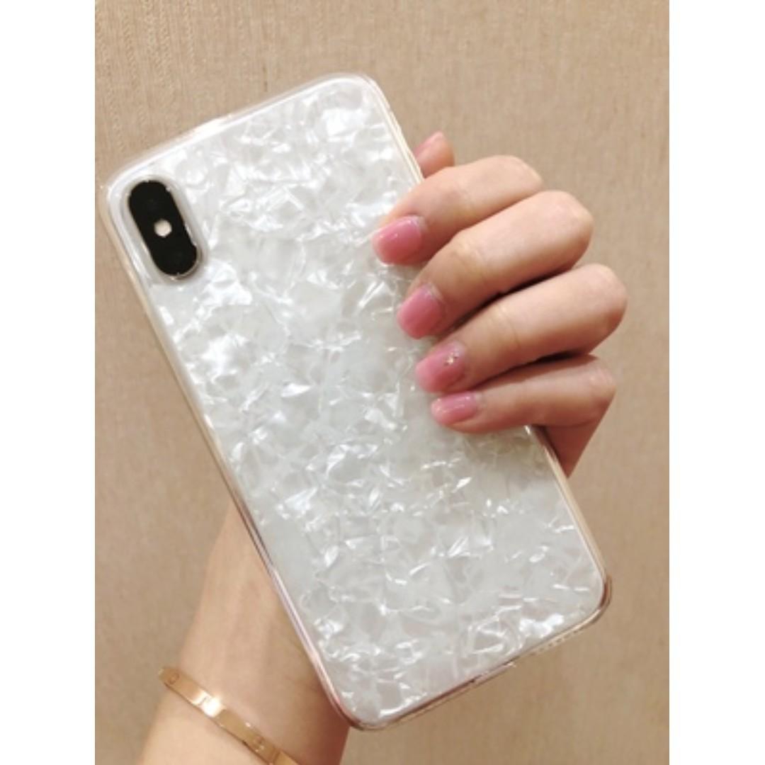 [預購] iPhone X/6/6s/7/8 plus 天然白貝母軟殼 滴膠透明軟邊 保護殼 手機套