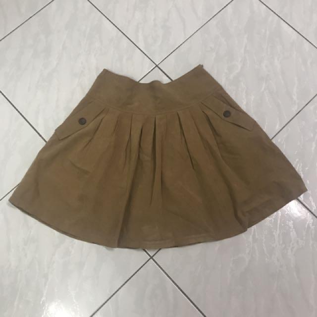 日系 駝色L號短裙#好物免費送