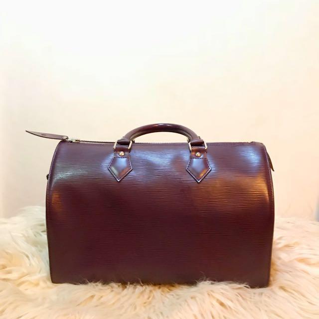Authentic Louis Vuitton EPI Rouge Speedy 35 Boston Handbag ef968b3e9