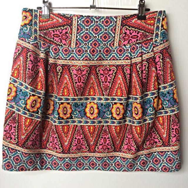 Aztec print tulip mini skirt