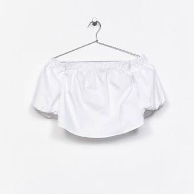 Bershka sabrina white top