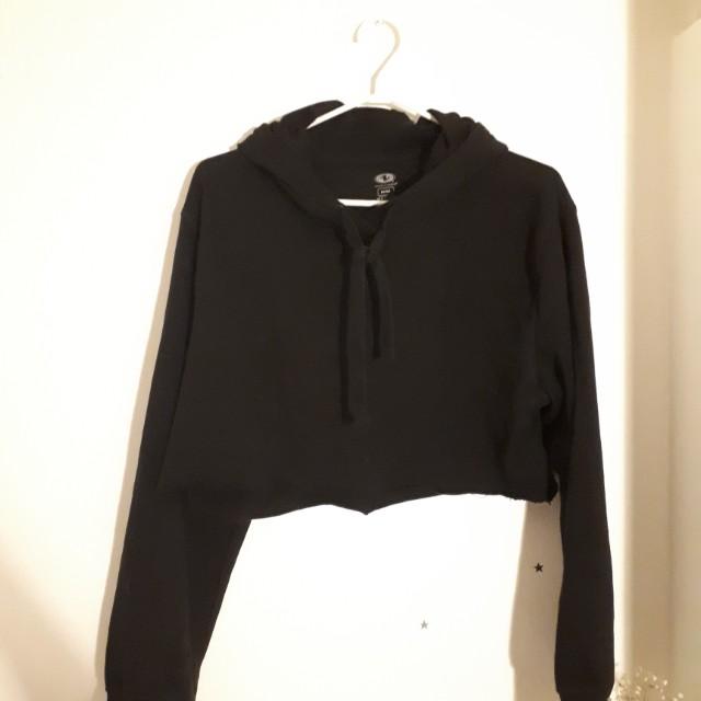 Black distressed cropped hoodie (size s/m)