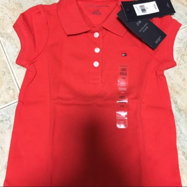 d1f2c765 BNWT Tommy Hilfiger red polo t-shirt 2T, Babies & Kids, Girls ...