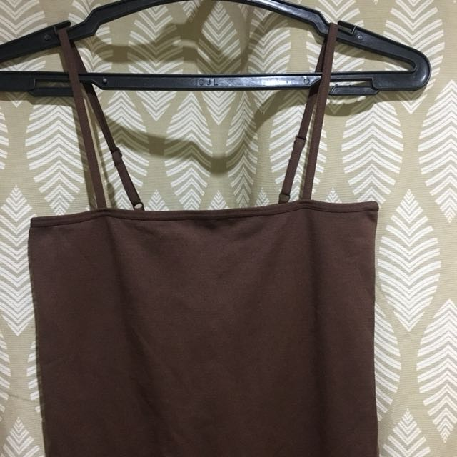 Brown straight neck body suit