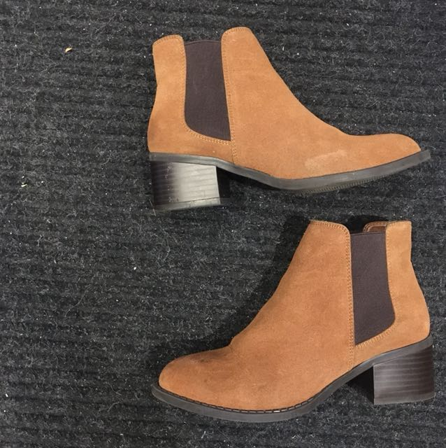 Brown two tone booties