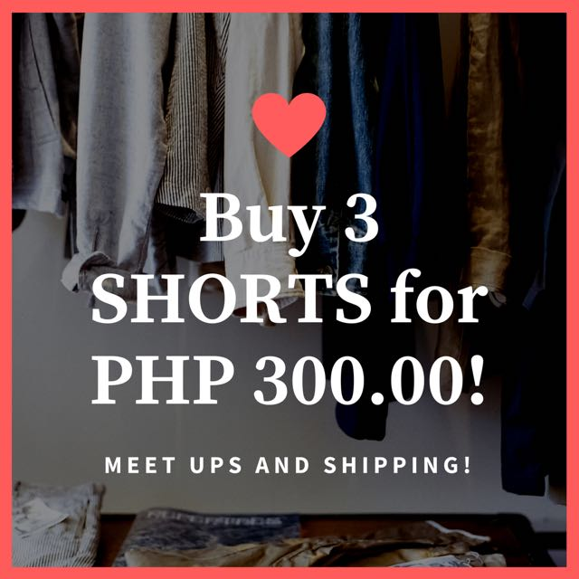 BUY 3 SHORTS / SKIRTS FOR 300.00 ONLY