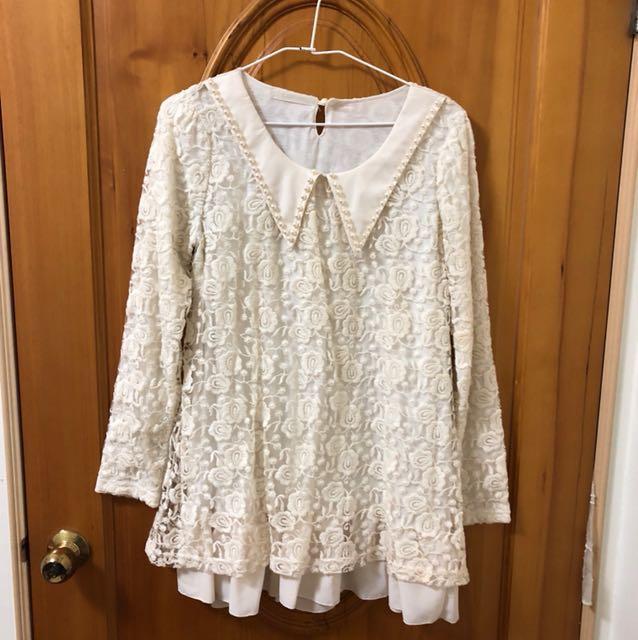 Coco deal蕾絲領片雪紡長袖洋裝