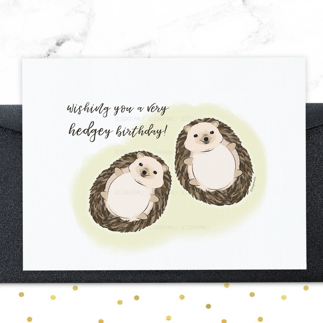 Cute Hedgehog Birthday Card Adorable And Funny Greeting