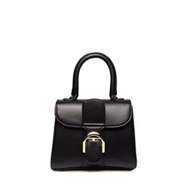 Delvaux 同款韓國黑色皮革手提包附斜背帶斜背包