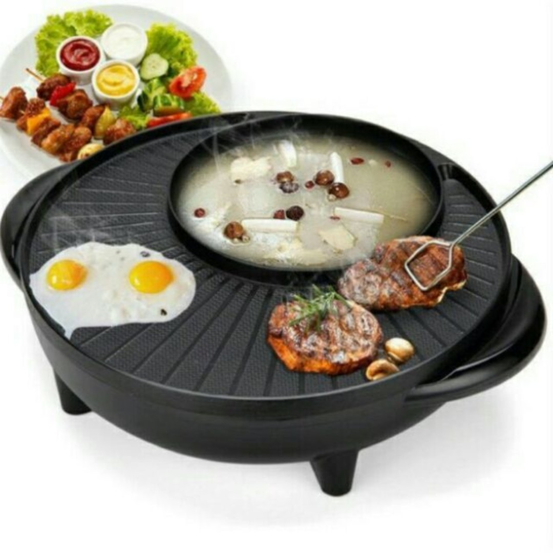 Electric Hot Pan Instant Boiled and BBQ Hot Pot and BBQ