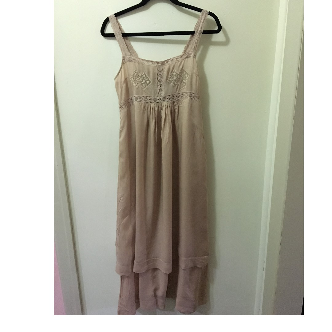 Fleur Wood blush pink maxi dress with lace straps and detail