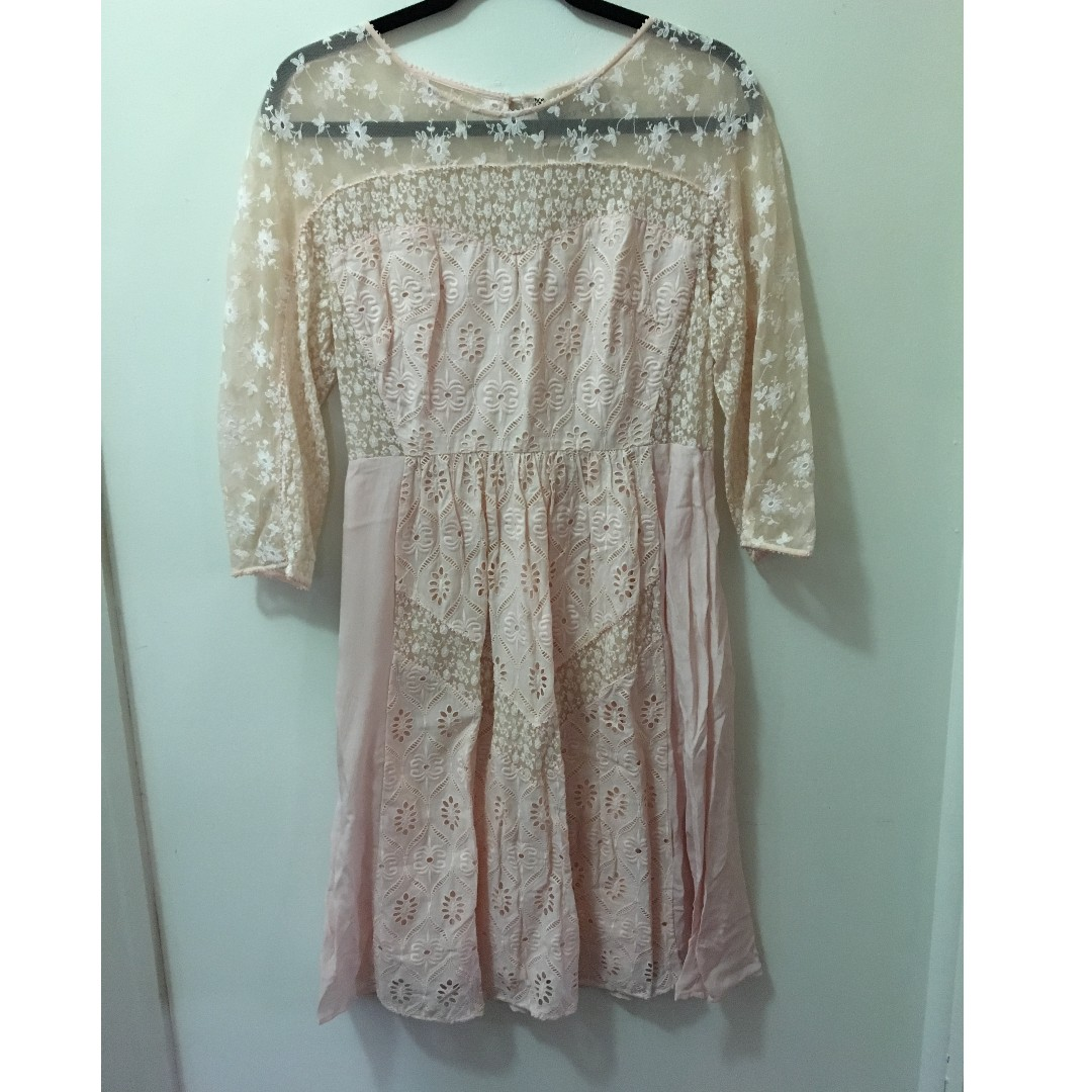 Fleur Wood pink silk dress with lace and cotton embroidery