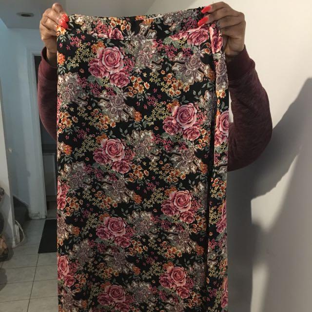 Floral maxi silk skirt