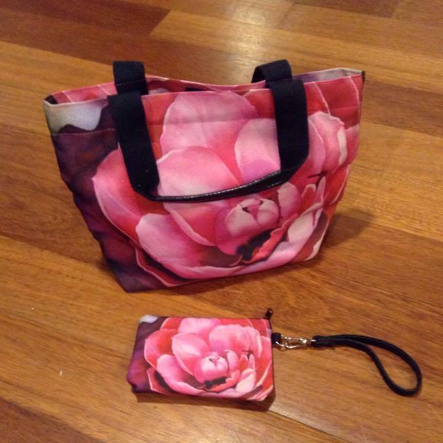 Floral tote bag + wrist purse