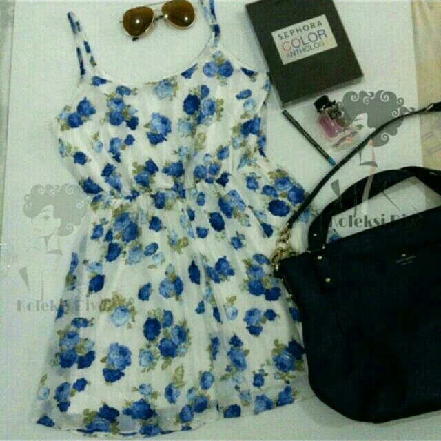 Forever 21 Blue Floral Fever Chiffon Dress