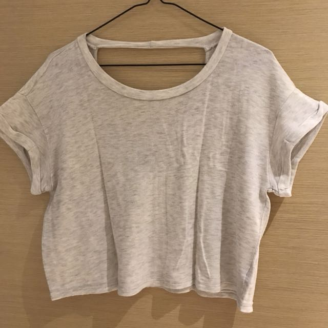 Forever 21 Gray Cutout Cropped Top
