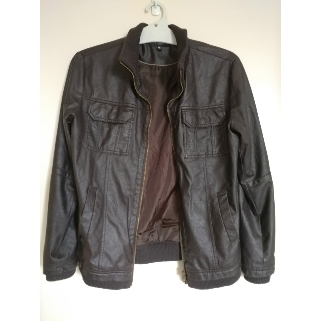 Forever 21 Mens Brown Pleather Jacket Size M Vegan