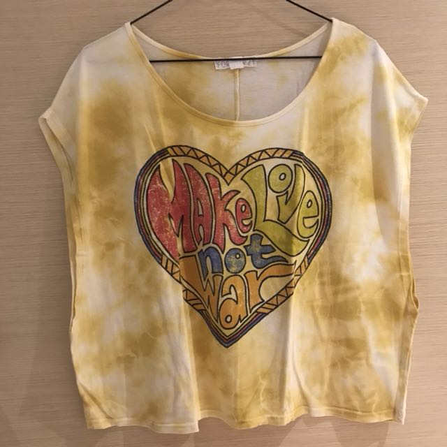 Forever 21 Yellow Tie-dye Muscle Tee