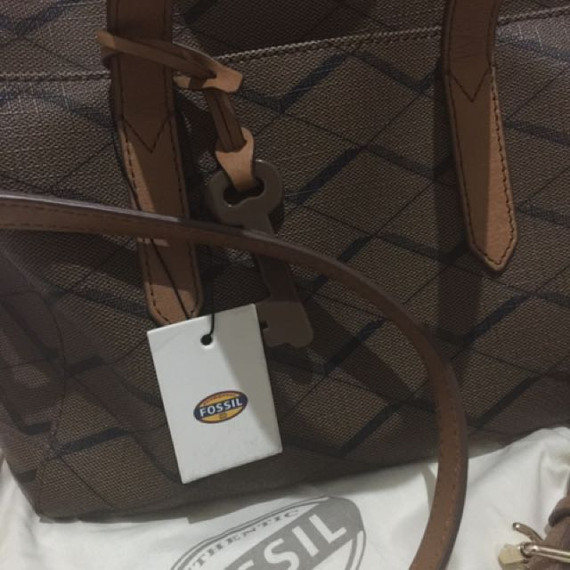 Fossil Sydney Satchel Zigzag Brown Authentic