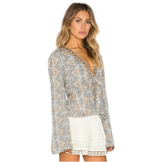 Free People Ivory Combo Blouse