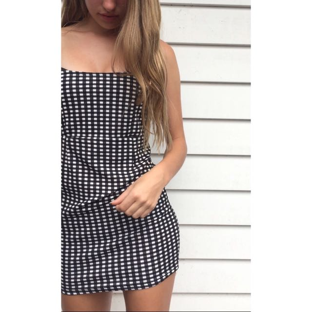 Gingham Printed Dress
