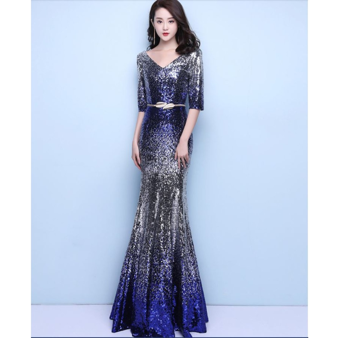 9a792f68bead Gown Collection - Shining Silver Blue Mermaid Gown, Women's Fashion,  Clothes, Dresses on Carousell