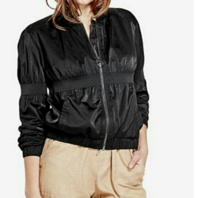 Guess Black Olive Biker Bomber Jacket