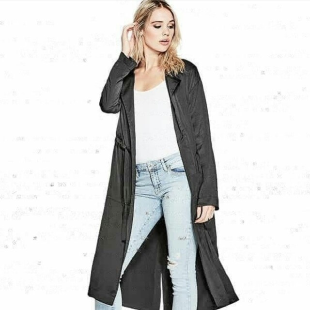 Guess Satin Black Long Coat