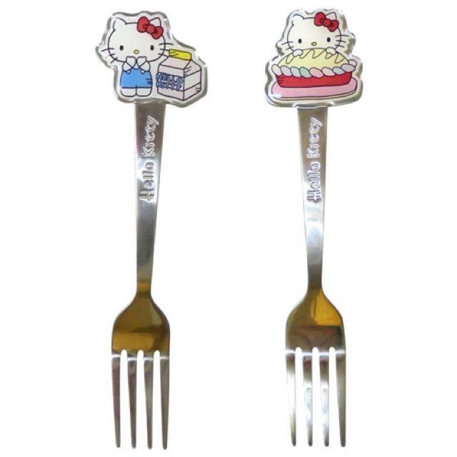 三麗鷗HELLO KITTY凱蒂貓不鏽鋼造型湯匙 叉子 各兩款