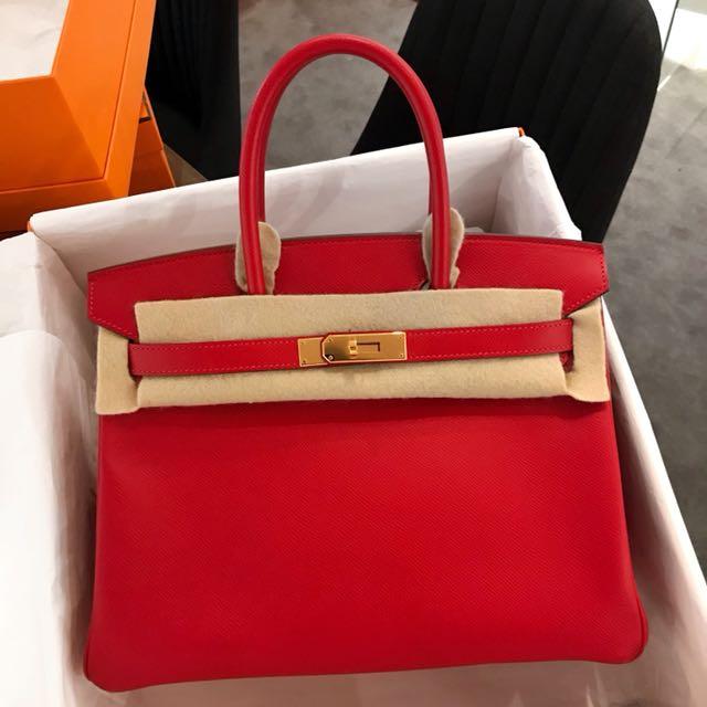 cb98329189 Hermes Birkin 30 Rouge casaque Epsom Ghw
