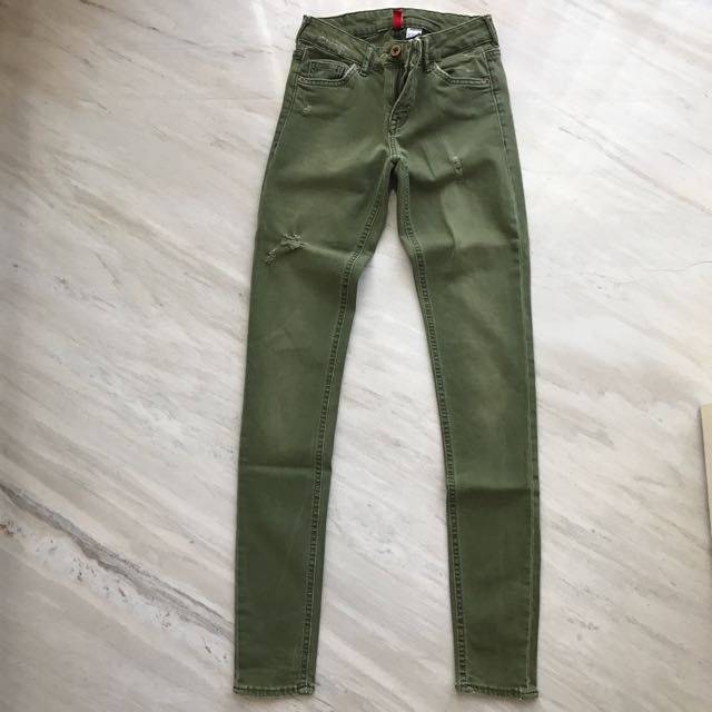 H&M divided army green jeans