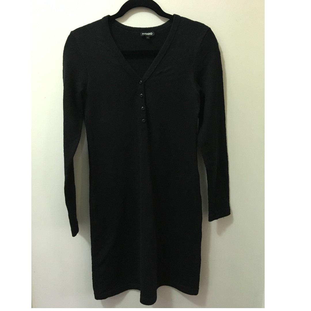 Indigo long-sleeve black knit dress with button