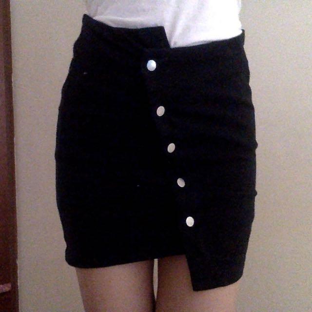 JOA Black Asymmetrical Button Skirt